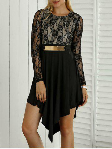 Shops Lace Spliced Sequined Irregular Dress