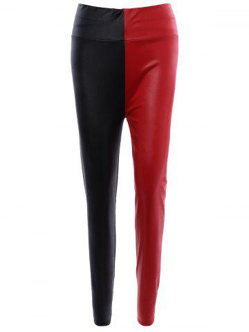 Outfit Color Patchwork Slimming Leather Pants