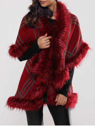Affordable Batwing Sleeves Tiered Furry Coat