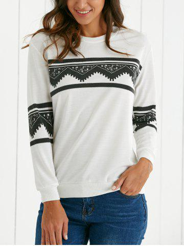 New Round Neck Ethnic Print Sweatshirt