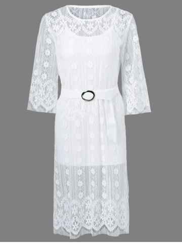 Shops Belted Embroidery Lace Dress