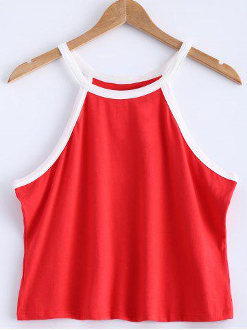 Fancy Contrast-Trim Spaghetti Strap Crop Tank Top - 2XL RED Mobile