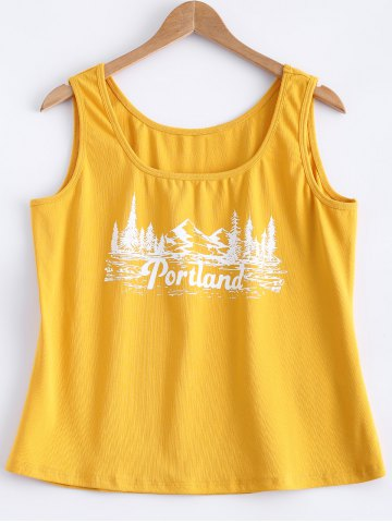 Shops Printed Mountain View Tank Top YELLOW 5XL
