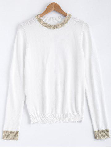 Online Color Patchwork Stretchy Sweater WHITE ONE SIZE