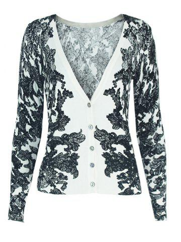 Outfits Two-Tone V-Neck Floral Cardigan