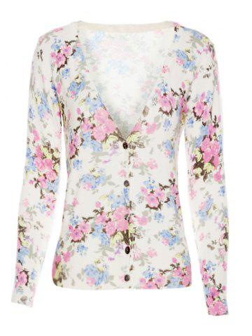 Fancy Ribbed Long Sleeves V-Neck Floral Cardigan