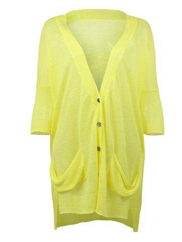 Sale Loose Fitting Ribbed Hem High Low Cardigan