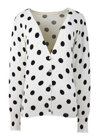 Hot Two-Tone Polka Dot Ribbed Hem Cardigan
