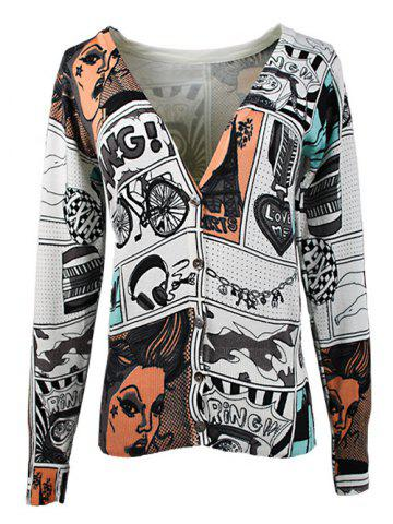 Fashion V-Neck Face Print Knitted Cardigan