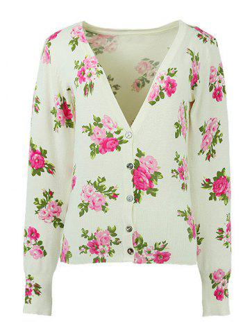 Trendy Long Sleeves Buttoned Floral Cardigan