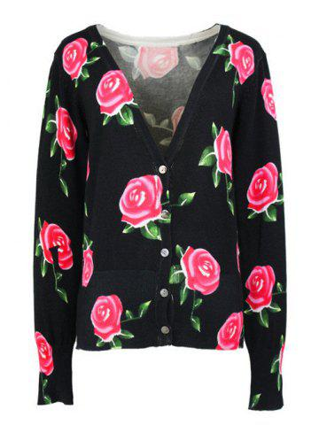 Shop Long Sleeves Buttoned Rose Cardigan