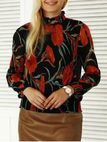 Fashion Pleated Flowers Print Ruffled Blouse