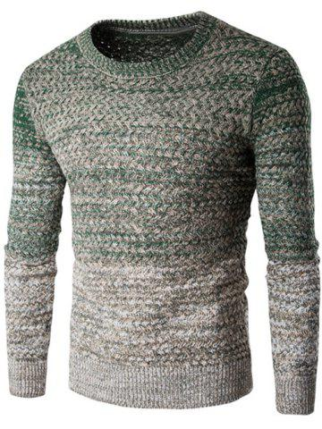 Affordable Round Neck Knit Blends Ombre Long Sleeve Sweater