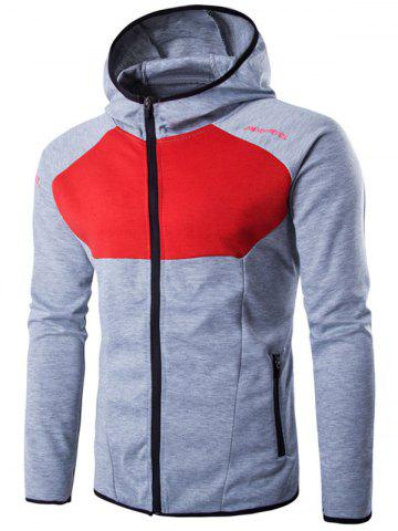 Outfits Hooded Color Block Spliced Long Sleeve Letter Print Zip-Up Hoodie LIGHT GRAY 2XL