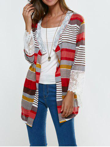 Hot Lace Splicing Colorful Print Thin Cardigan COLORMIX M