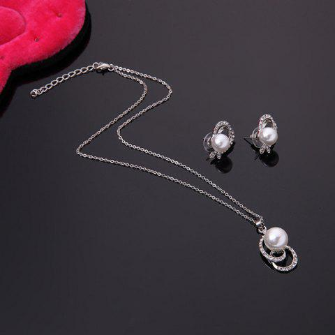 Shops Classical Rhinestone Faux Pearl Decorated Pendant Necklace and A Pair of Earrings For Women