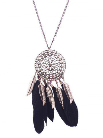 Discount Alloy Floral Round Leaf Feather Necklace