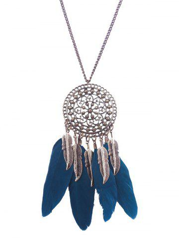 Outfits Alloy Floral Round Leaf Feather Necklace