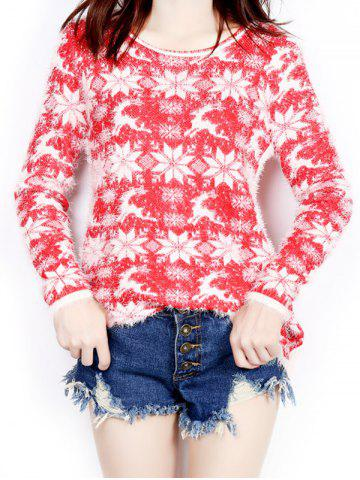 Trendy Snowflake and Deer Print Long Christmas Sweater