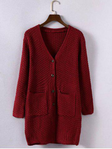 Latest Textured Buttoned Double Pockets Cardigan