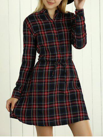 Latest Long Sleeves Drawstring Checkered Dress RED 5XL