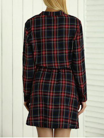 Trendy Long Sleeves Drawstring Checkered Shirt Dress - XL RED Mobile