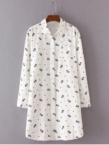Outfit Buttoned Kitten Print Long Shirt