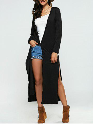 Chic Collarless Buttoned Slit Cardigan