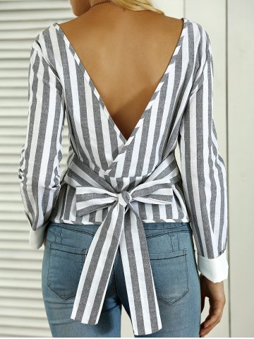 Affordable Striped Open Back Bowknot Blouse
