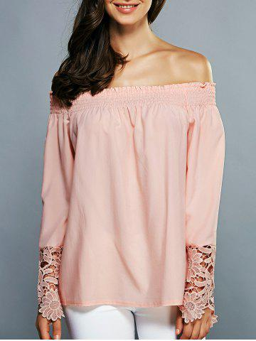 Sale Off-The-Shoulder Laciness Cutwork Blouse