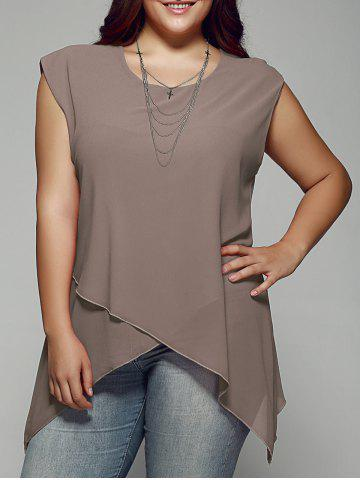Discount Plus Size Asymmetrical Chiffon Blouse KHAKI 2XL
