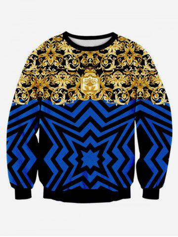 Online Ornate Print Long Sleeve Casual Sweatshirt BLUE L