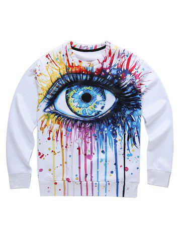 Sale Dripping 3D Eyes Print Round Neck Long Sleeve Sweatshirt