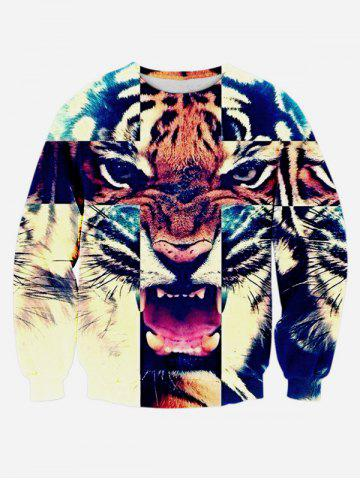 Chic 3D Animal Print Round Neck Long Sleeve Sweatshirt COLORMIX XL