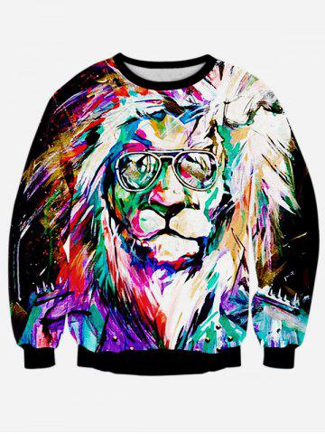 Fancy Colorful Lion 3D Print Long Sleeve Sweatshirt BLACK XL