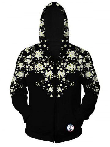 Trendy Floral Printed Zippered Long Sleeve Hoodie