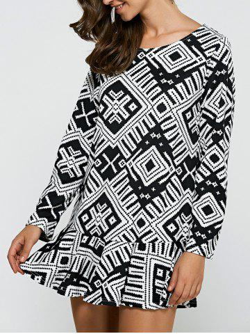 Outfits Geometric Print Flounce Loose-Fitting Dress BLACK XL