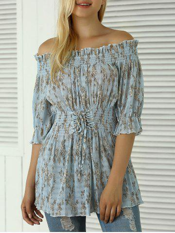 Outfit Off The Shoulder Floral Print Shirred Blouse