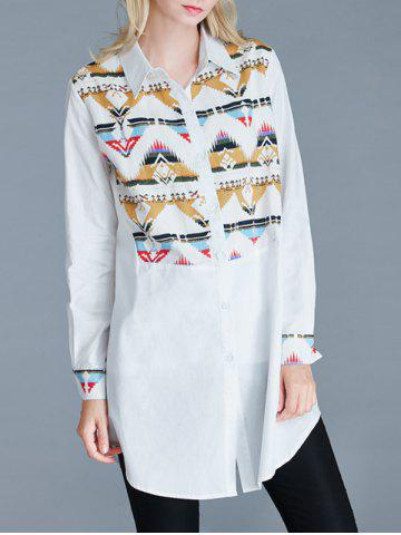 Buy Geometric Print Loose-Fitting Buttoned Shirt