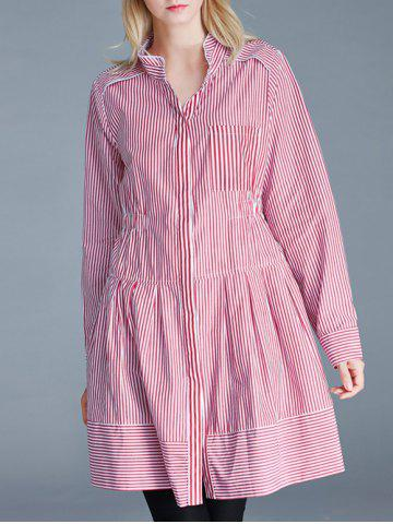 Cheap Pinstriped Loose-Fitting Pocket Design Blouse
