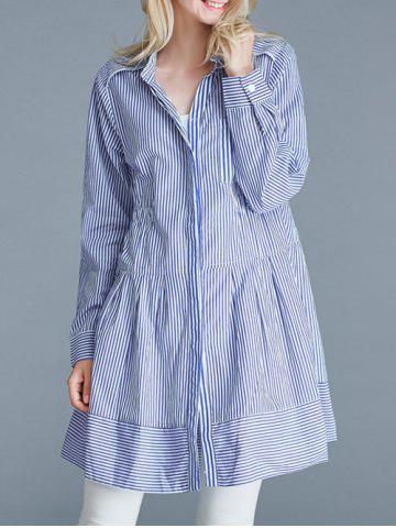 Hot Pinstriped Loose-Fitting Pocket Design Blouse BLUE 5XL