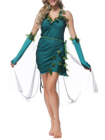 Unique Halloween Halter Leaves Embellished Fairy Costume