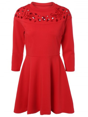Shops Butterfly Embroidered Cut Out Long Sleeve Dress