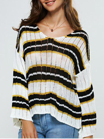 Outfit Hollow Out Striped Loose-Fitting Knitwear