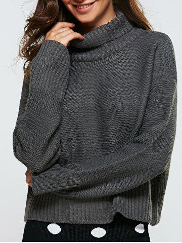 Latest Turtle Neck Ribbed Loose-Fitting Sweater