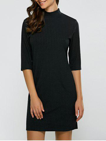 Affordable Turtleneck Half Sleeve Mini Knit Dress BLACK XL