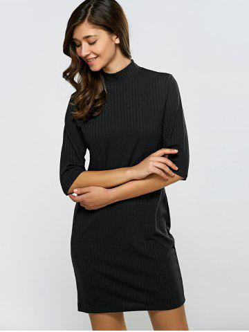 Cheap Turtleneck Half Sleeve Mini Knit Dress - M BLACK Mobile