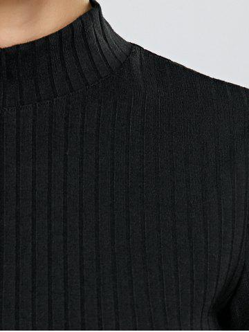 Discount Turtleneck Half Sleeve Mini Knit Dress - M BLACK Mobile