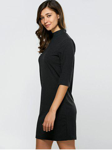 Outfit Turtleneck Half Sleeve Mini Knit Dress - M BLACK Mobile