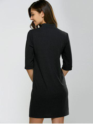 Chic Turtleneck Half Sleeve Mini Knit Dress - M BLACK Mobile